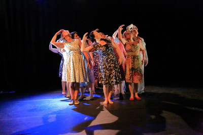 Small dance company onstage
