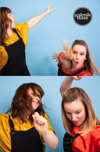 Two people dancing energetically