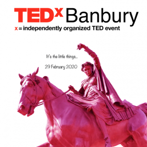 TEDxBanbury logo with a Fine Lady statue, coloured pink