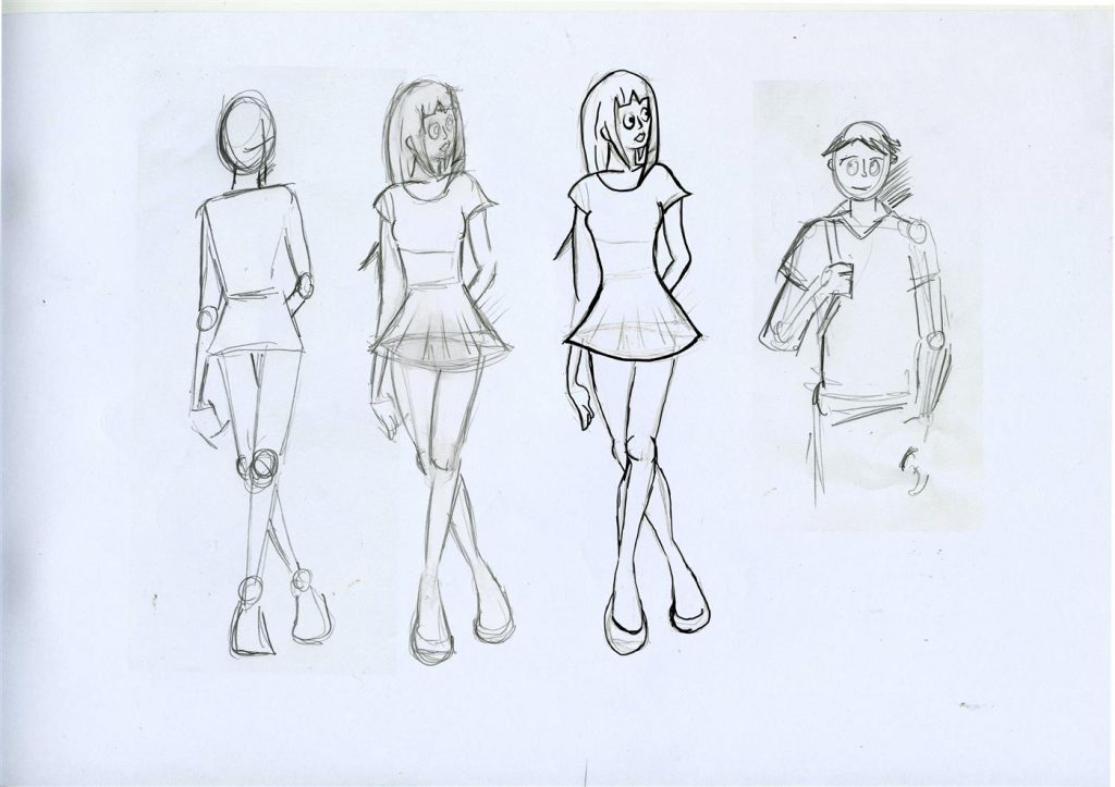 Sketches of four figures in manga style