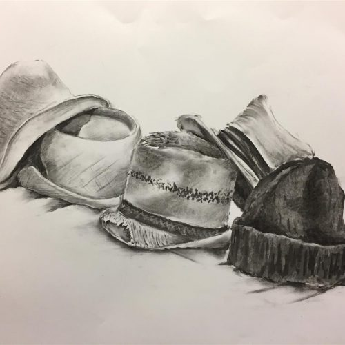 Pencil drawing of a row of different hats