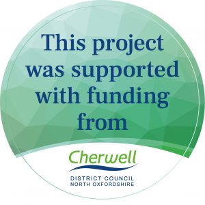 Green circle with text reading 'This project was supported with funding from Cherwell District Council'