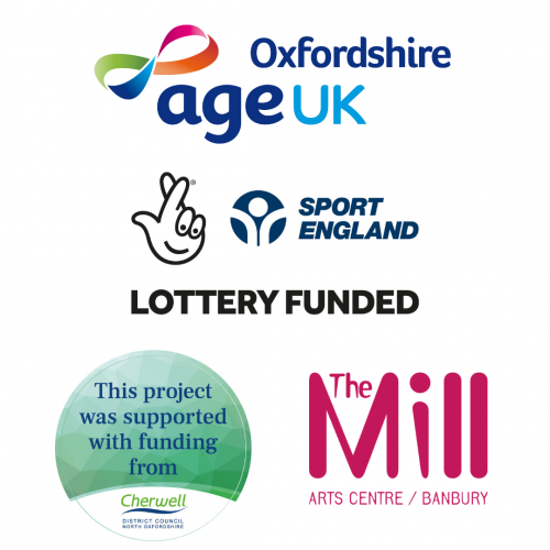Logos for Age UK Oxfordshire, Sport England, Cherwell District Council and The Mill Arts Centre