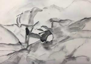 Pencil sketch of what could be crumpled paper