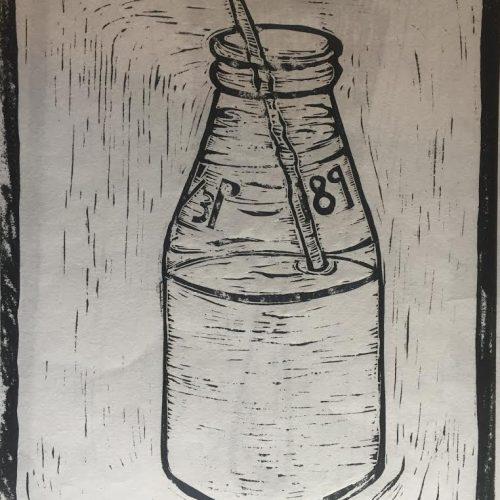 Lino cutting of a milk bottle