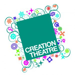Teal square with 'Creation Theatre' in white capitals