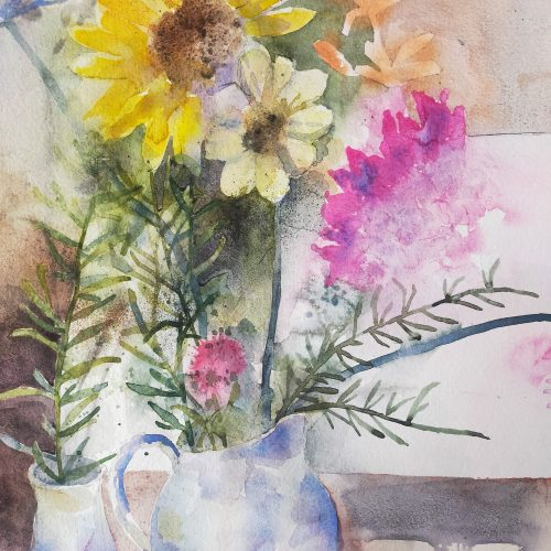 Summer flowers painted in watercolours