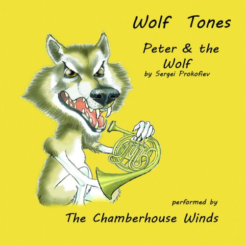 Cartoon wolf holding a French horn on a bright yellow background