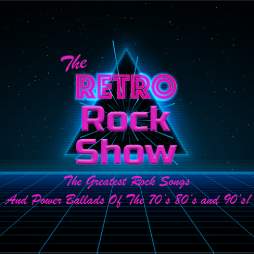 Neon pink retro lettering with the words reading: The Retro Rock Show: The Greatest Rock Songs And Power Ballads of the 70s, 80s and 90s!