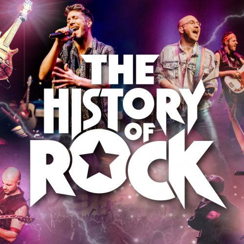 Performers singing and playing guitar with large white text reading 'The History of Rock'