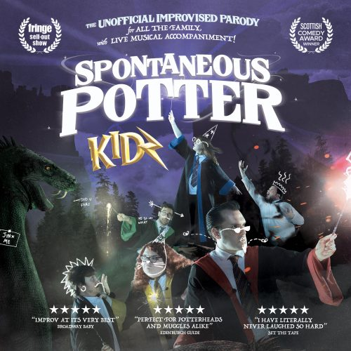 Witches and wizards raise their wands towards the sky. Large white text reads: Spontaneous Potter Kidz